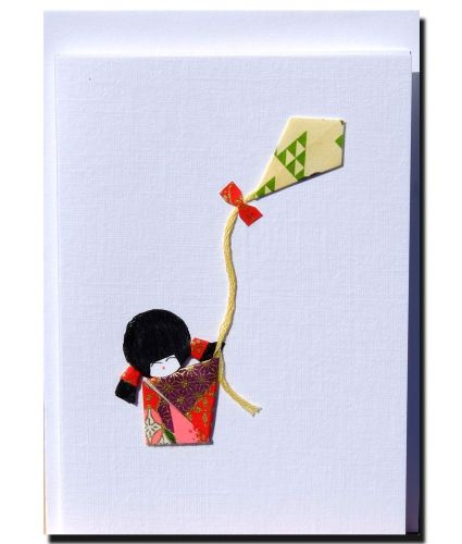 Greetings card Handmade - Small geisha girl with kite